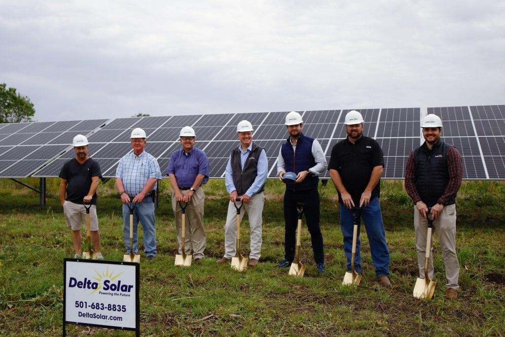 Pictured from left to right are Addison Adams (Delta Solar), Lenny Adams (England Council Member), Mayor Butch House (City of England), Bob East (Delta Solar), Tyler Wilson (Delta Solar), Gary Don Moreland (Delta Solar), A.J. Reynolds (Delta Solar).